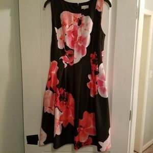 Calvin Klein black pink floral fit and flare dress